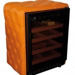 Humidor - sigaarklimaatkast oranje leer - chesterfield